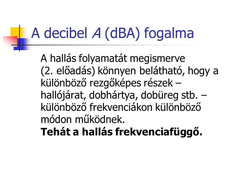 A decibel A (dBA) fogalma