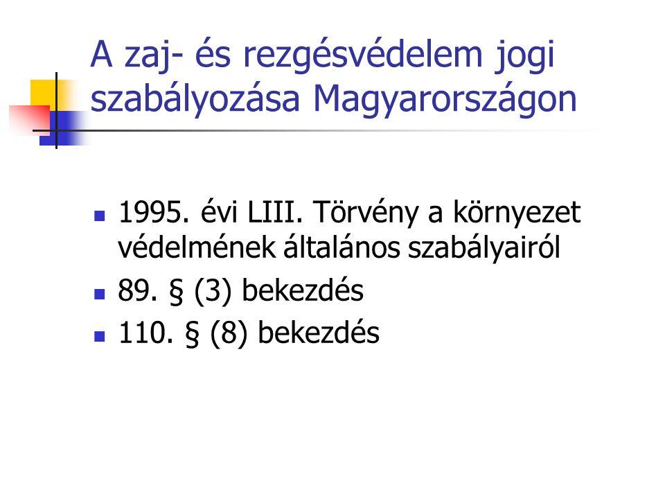 A zaj- és rezgésvédelem jogi szabályozása Magyarországon