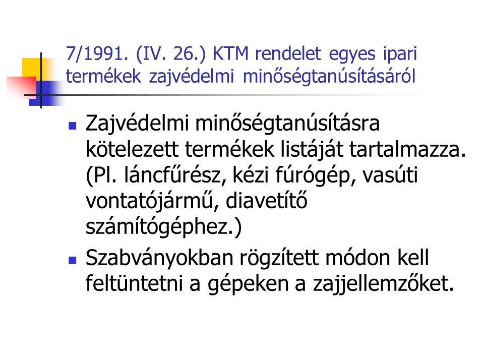 7/1991. (IV. 26.) KTM rendelet egyes ipari termékek zajvédelmi minőségtanúsításáról
