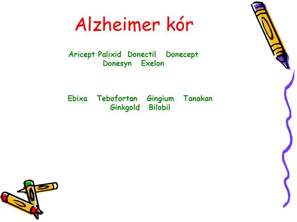 Alzheimer kór Aricept Palixid Donectil Donecept Donesyn Exelon