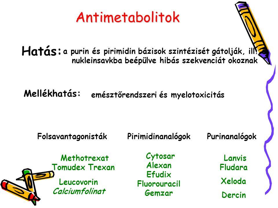 Antimetabolitok Hatás: Mellékhatás: