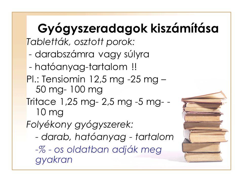 Gyógyszeradagok kiszámítása