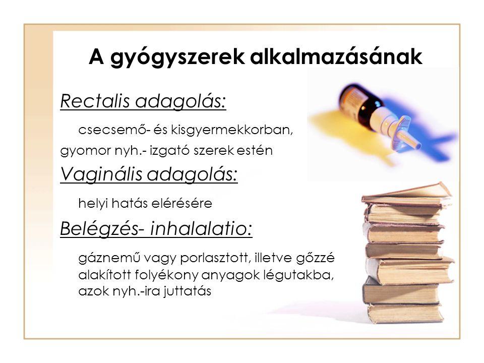 A gyógyszerek alkalmazásának