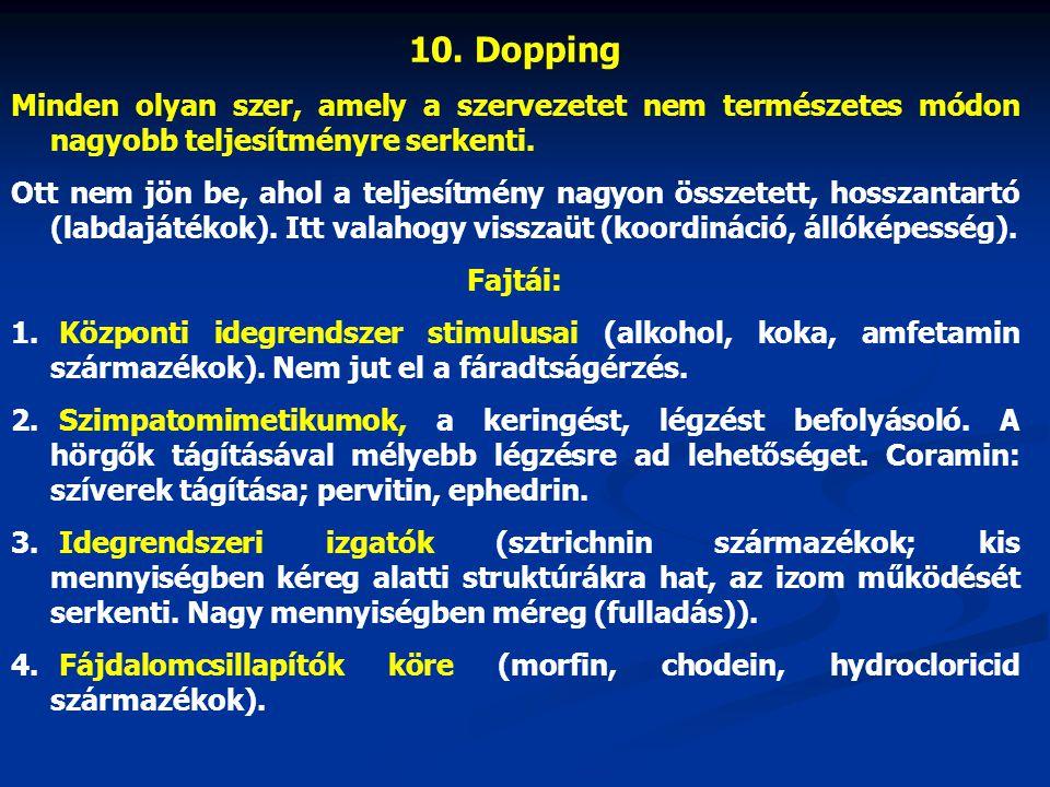 10. Dopping Minden olyan szer, amely a szervezetet nem természetes módon nagyobb teljesítményre serkenti.
