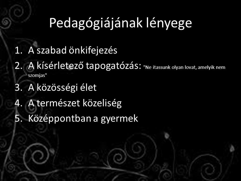 Pedagógiájának lényege