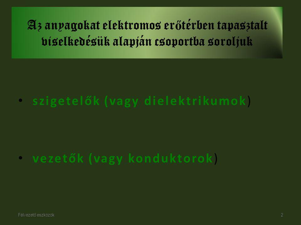 szigetelők (vagy dielektrikumok)