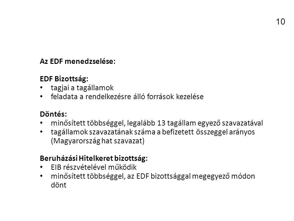 10 Az EDF menedzselése: EDF Bizottság: tagjai a tagállamok