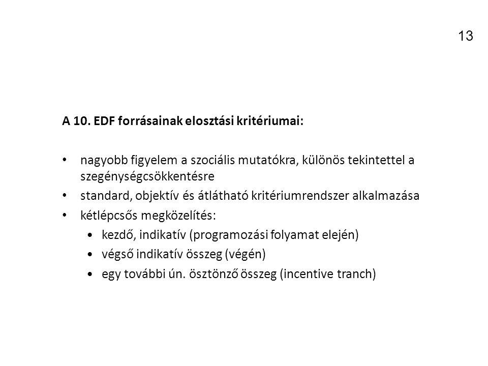 13 A 10. EDF forrásainak elosztási kritériumai: