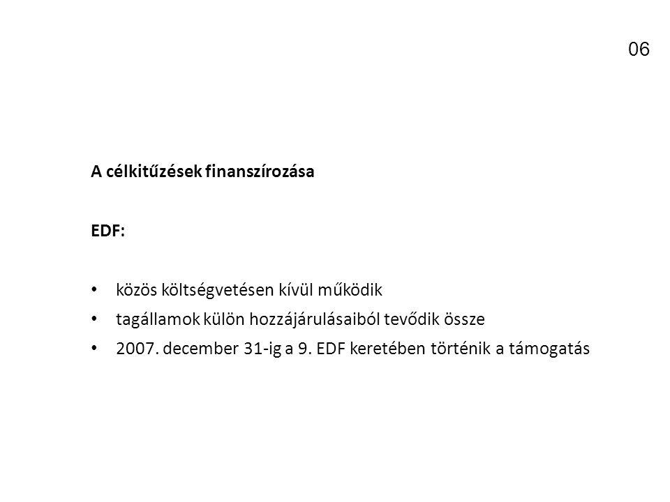 06 A célkitűzések finanszírozása EDF: