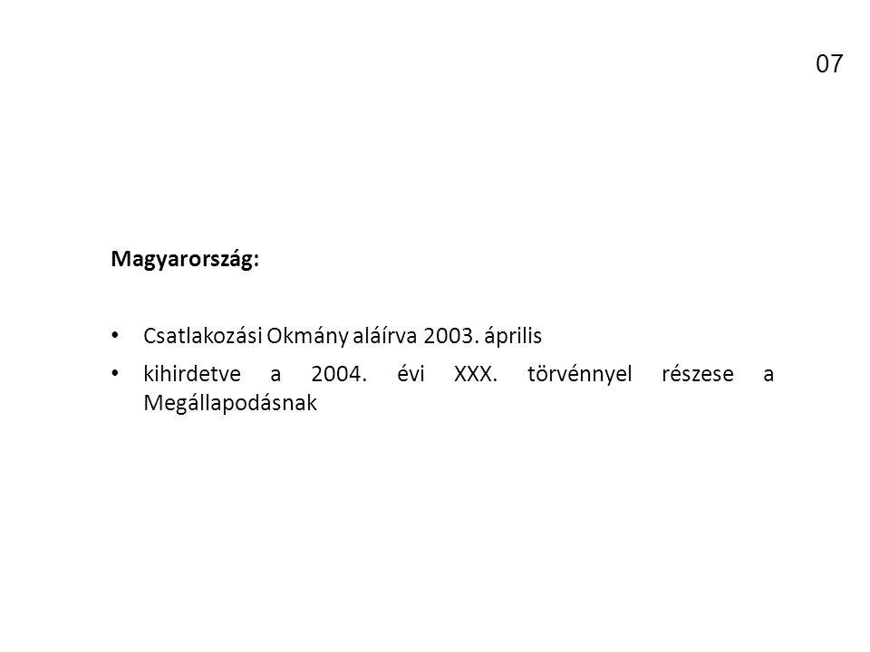 07 Magyarország: Csatlakozási Okmány aláírva 2003. április
