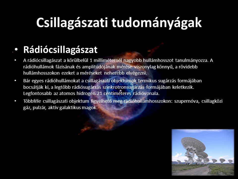 Csillagászati tudományágak