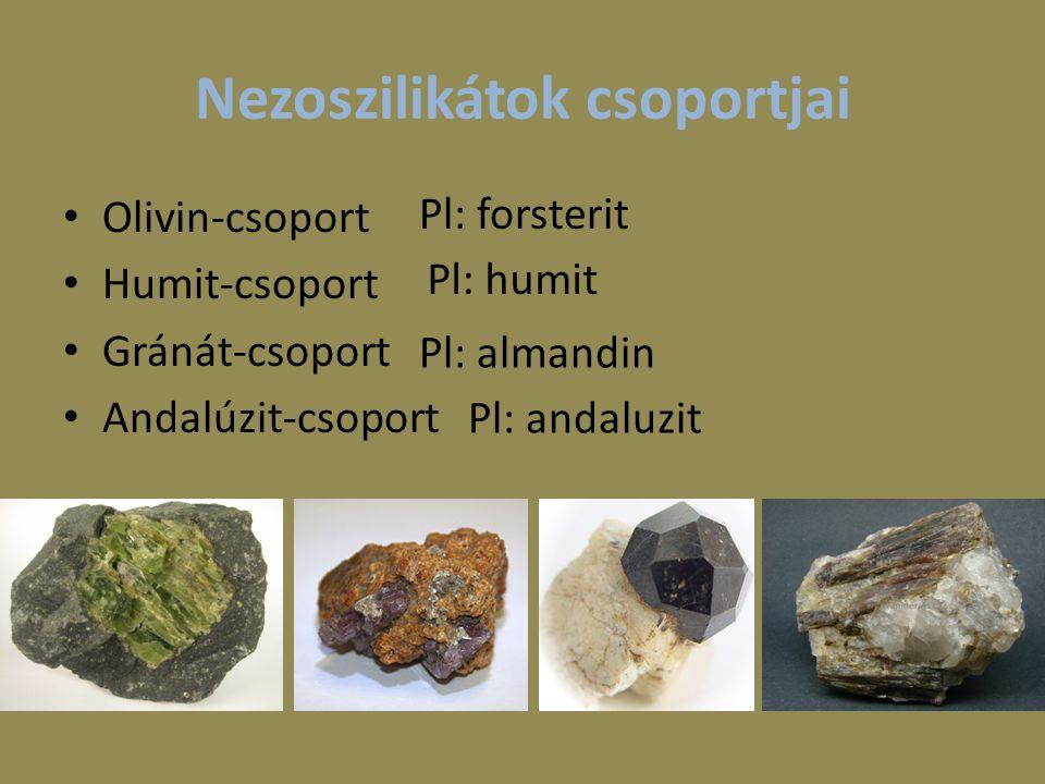 Nezoszilikátok csoportjai