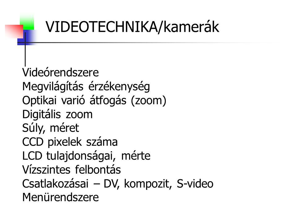 VIDEOTECHNIKA/kamerák