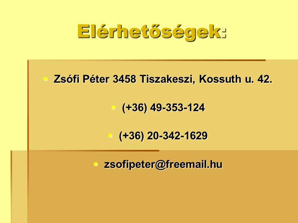 Zsófi Péter 3458 Tiszakeszi, Kossuth u. 42.