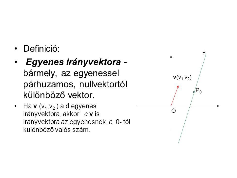 Definició: Egyenes irányvektora - bármely, az egyenessel párhuzamos, nullvektortól különböző vektor.