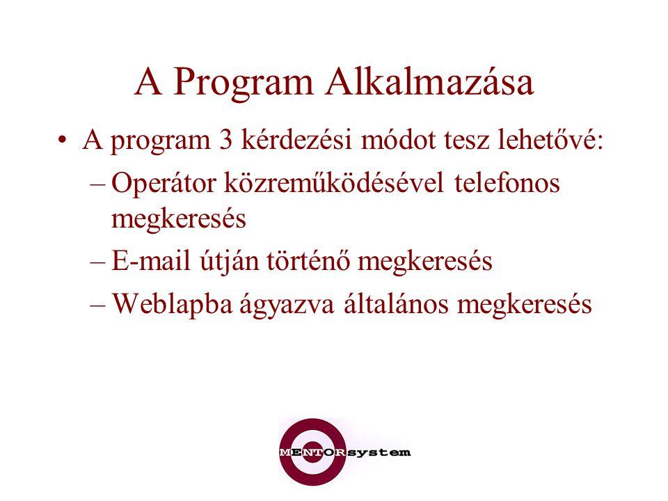 A Program Alkalmazása A program 3 kérdezési módot tesz lehetővé: