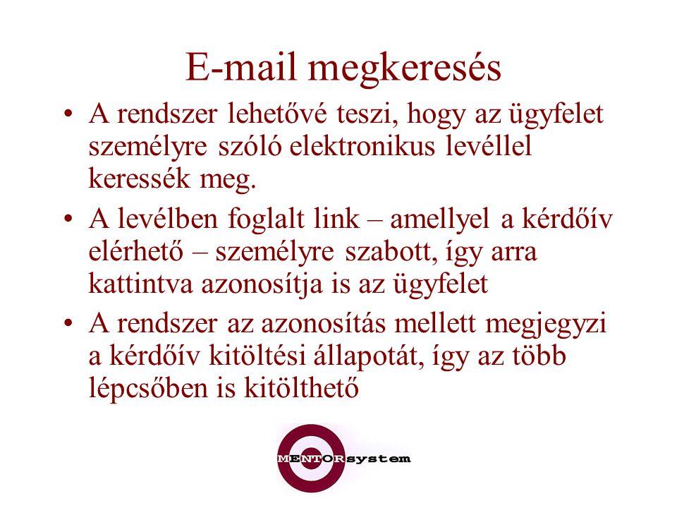 E-mail megkeresés A rendszer lehetővé teszi, hogy az ügyfelet személyre szóló elektronikus levéllel keressék meg.