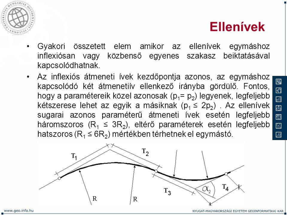 Ellenívek Gyakori összetett elem amikor az ellenívek egymáshoz inflexiósan vagy közbenső egyenes szakasz beiktatásával kapcsolódhatnak.