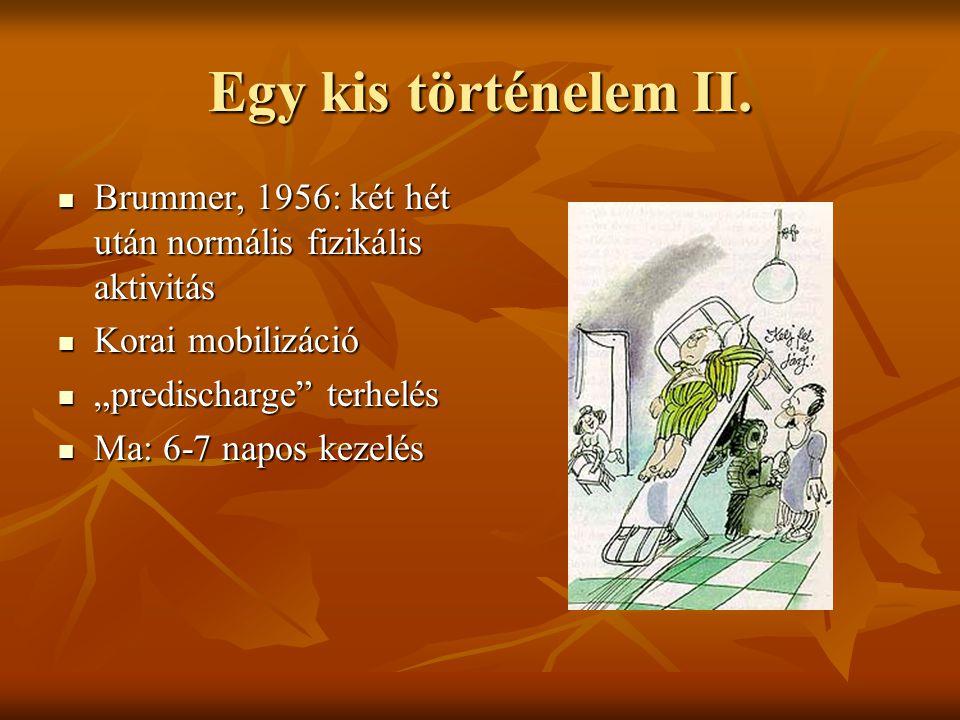 Egy kis történelem II. Brummer, 1956: két hét után normális fizikális aktivitás. Korai mobilizáció.