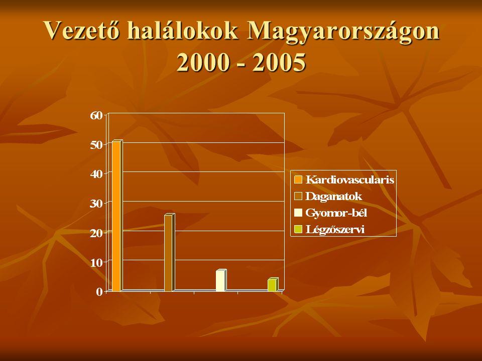 Vezető halálokok Magyarországon 2000 - 2005