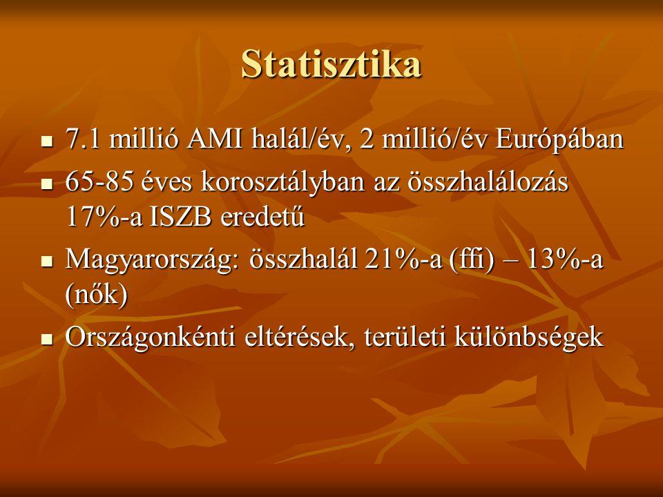 Statisztika 7.1 millió AMI halál/év, 2 millió/év Európában