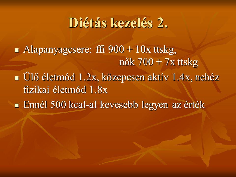 Diétás kezelés 2. Alapanyagcsere: ffi 900 + 10x ttskg, nők 700 + 7x ttskg.