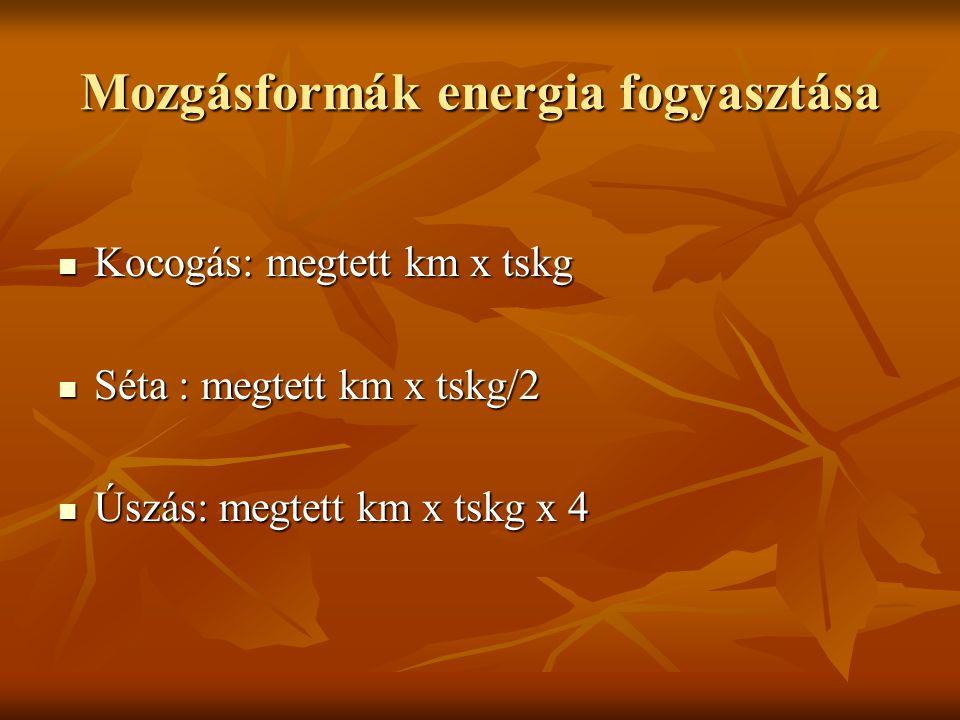 Mozgásformák energia fogyasztása