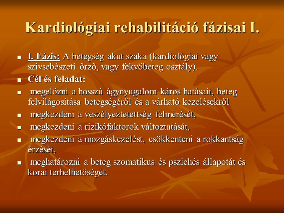 Kardiológiai rehabilitáció fázisai I.
