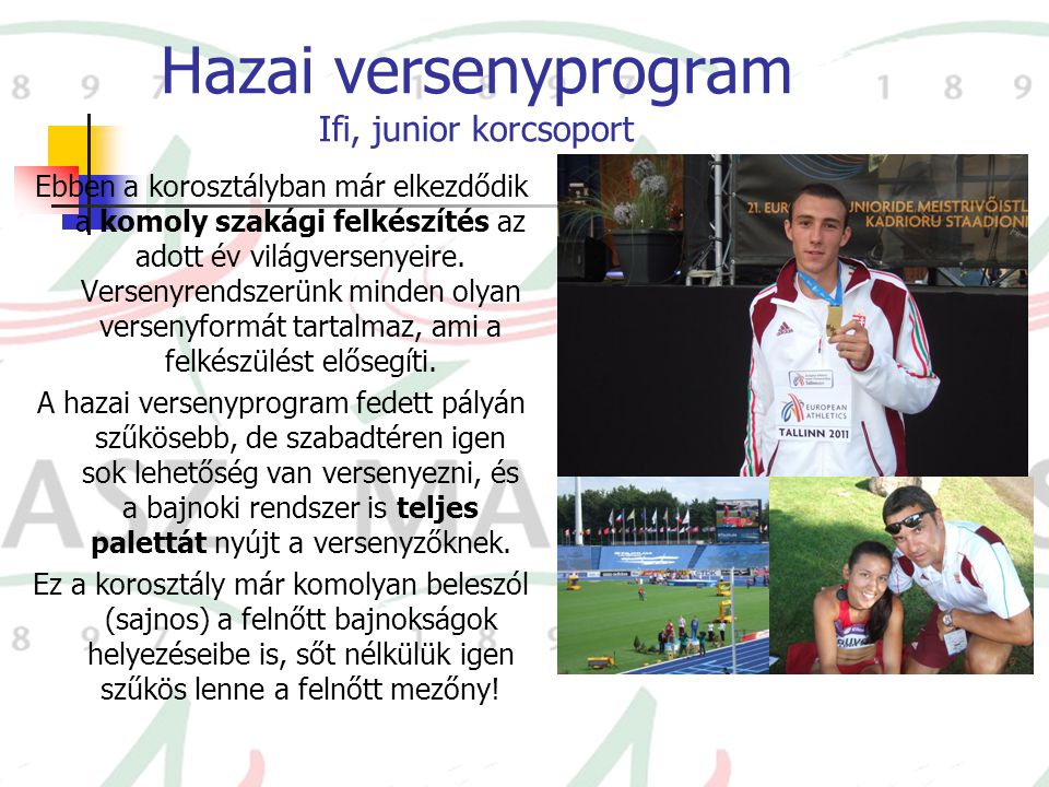 Hazai versenyprogram Ifi, junior korcsoport