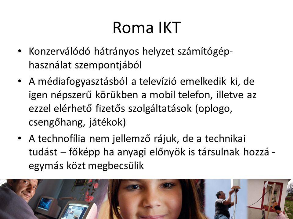 Roma IKT Konzerválódó hátrányos helyzet számítógép-használat szempontjából.