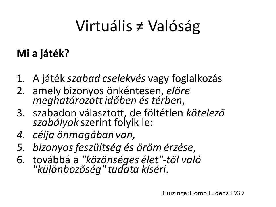 Virtuális ≠ Valóság Mi a játék