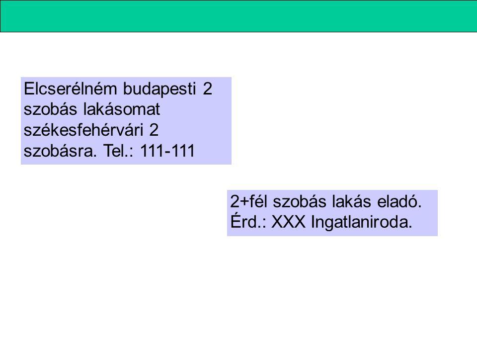 Elcserélném budapesti 2 szobás lakásomat székesfehérvári 2 szobásra