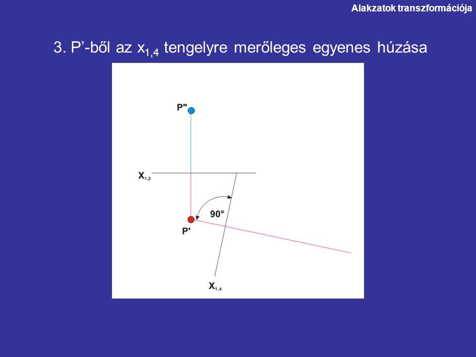 3. P'-ből az x1,4 tengelyre merőleges egyenes húzása