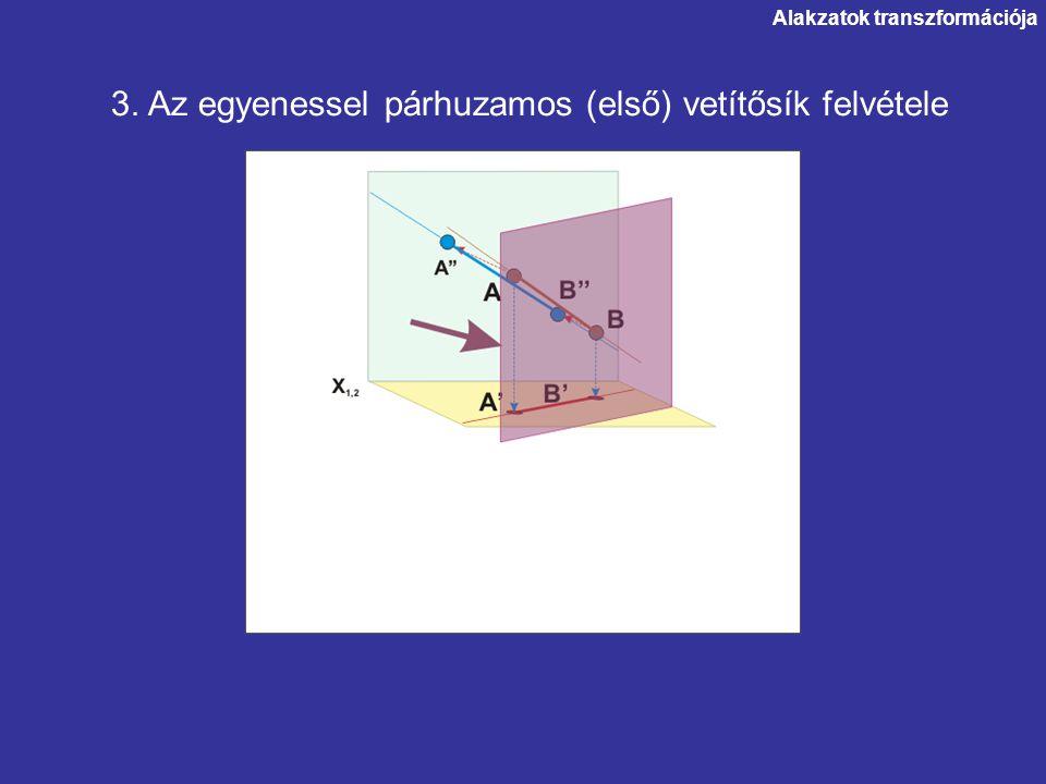 3. Az egyenessel párhuzamos (első) vetítősík felvétele