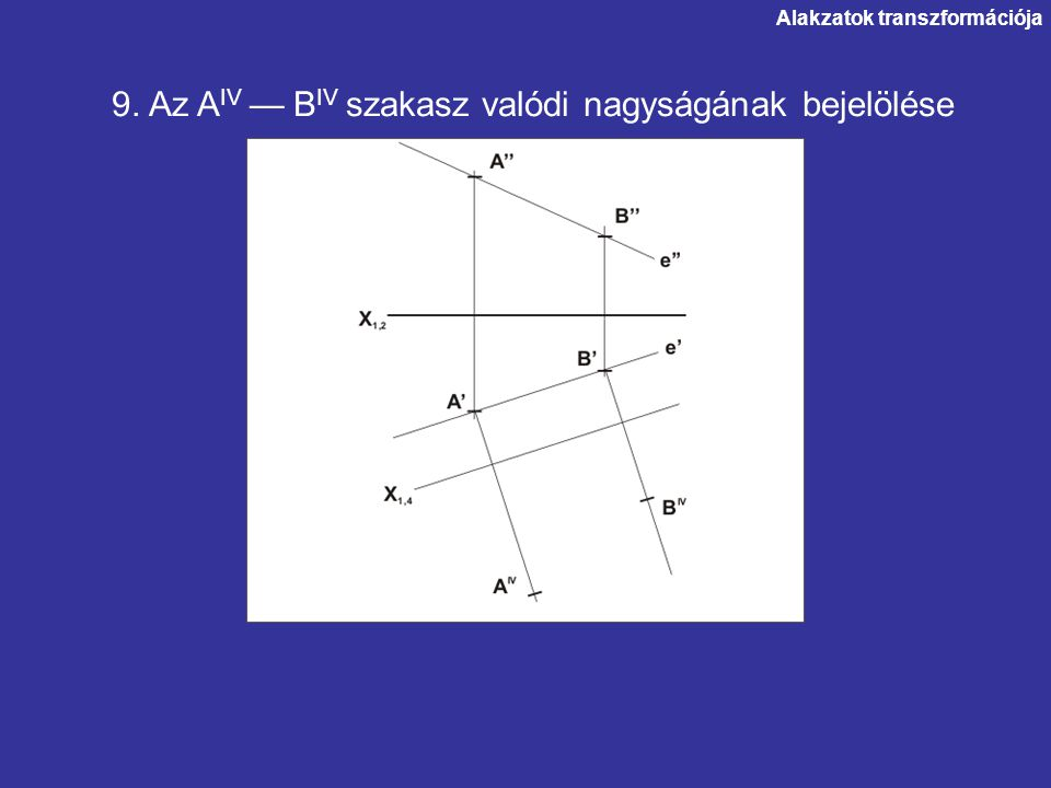 9. Az AIV — BIV szakasz valódi nagyságának bejelölése