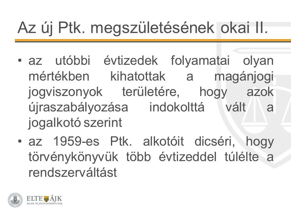 Az új Ptk. megszületésének okai II.