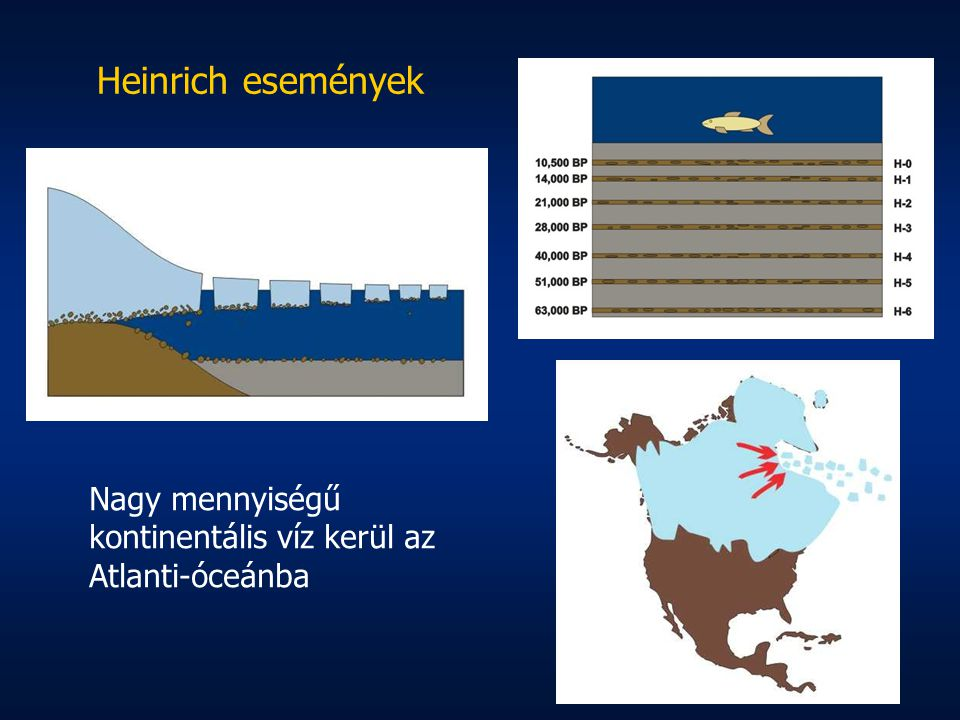 Heinrich események Nagy mennyiségű kontinentális víz kerül az Atlanti-óceánba