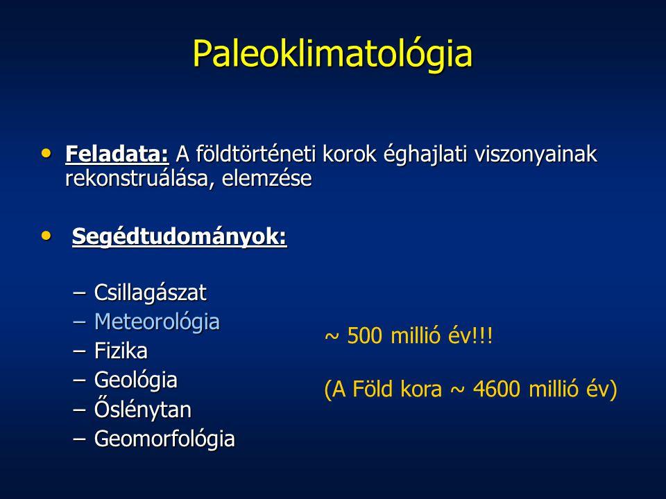 Paleoklimatológia Feladata: A földtörténeti korok éghajlati viszonyainak rekonstruálása, elemzése. Segédtudományok: