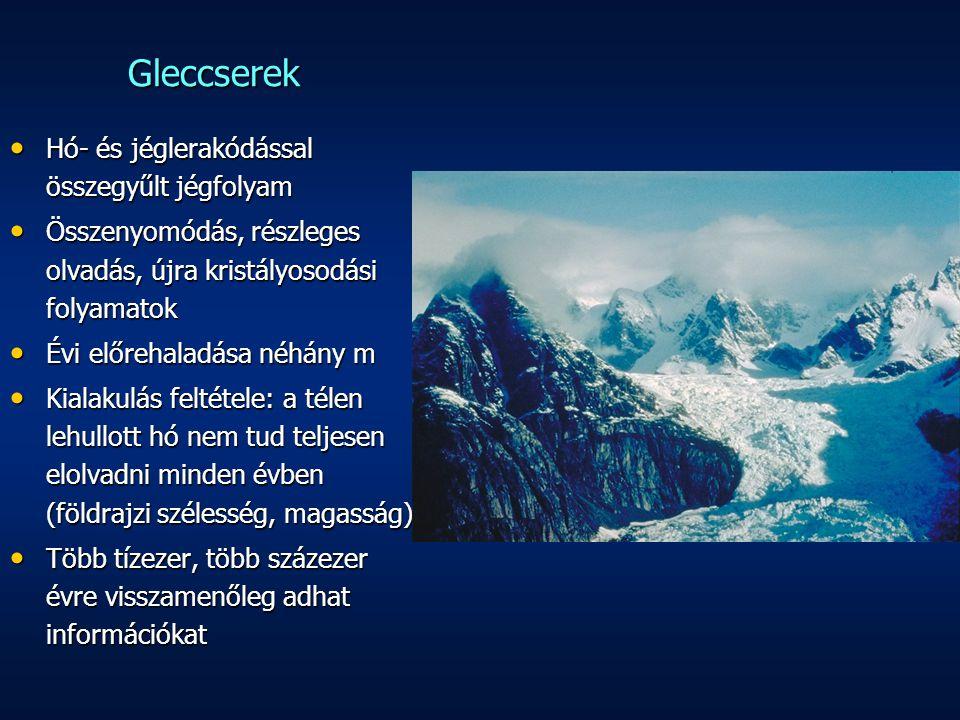 Gleccserek Hó- és jéglerakódással összegyűlt jégfolyam