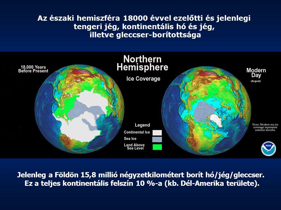 Az északi hemiszféra 18000 évvel ezelőtti és jelenlegi