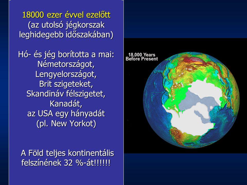 18000 ezer évvel ezelőtt (az utolsó jégkorszak leghidegebb időszakában) Hó- és jég borította a mai: Németországot, Lengyelországot, Brit szigeteket, Skandináv félszigetet, Kanadát, az USA egy hányadát (pl. New Yorkot) A Föld teljes kontinentális felszínének 32 %-át!!!!!!