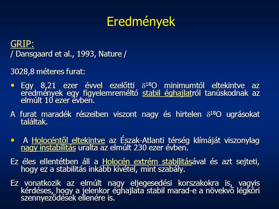 Eredmények GRIP: / Dansgaard et al., 1993, Nature /