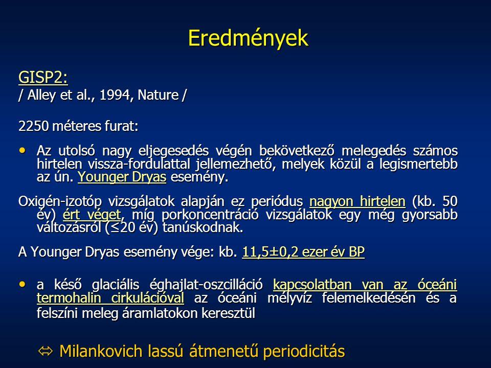 Eredmények GISP2:  Milankovich lassú átmenetű periodicitás