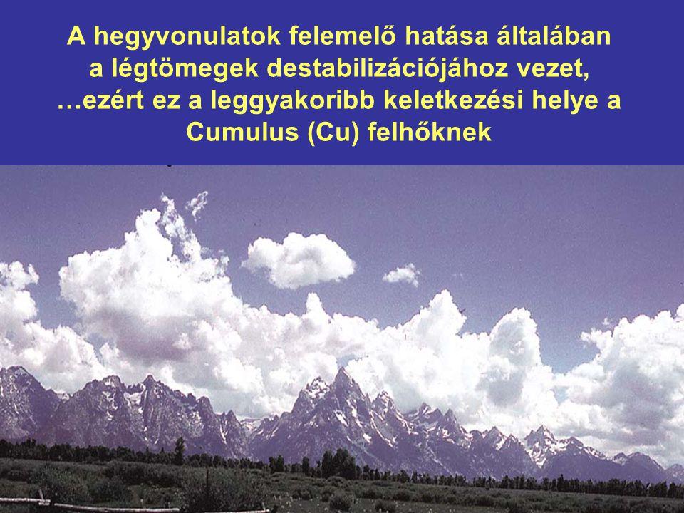 A hegyvonulatok felemelő hatása általában a légtömegek destabilizációjához vezet, …ezért ez a leggyakoribb keletkezési helye a Cumulus (Cu) felhőknek