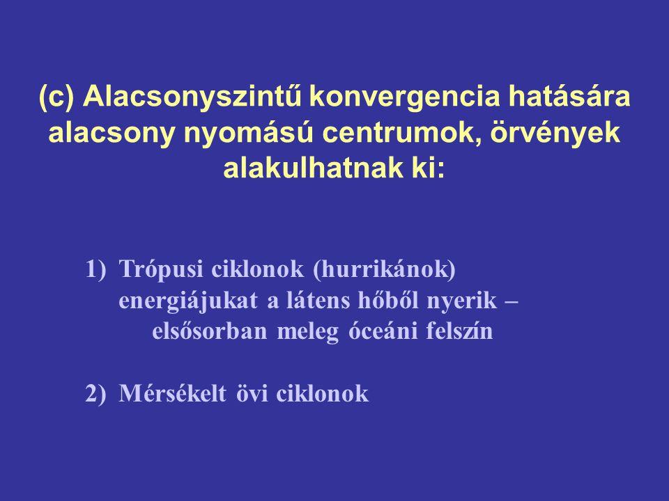(c) Alacsonyszintű konvergencia hatására alacsony nyomású centrumok, örvények alakulhatnak ki: