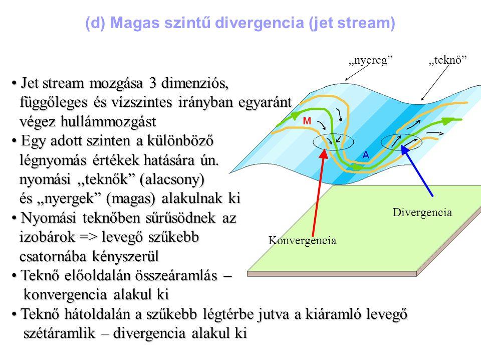 (d) Magas szintű divergencia (jet stream)