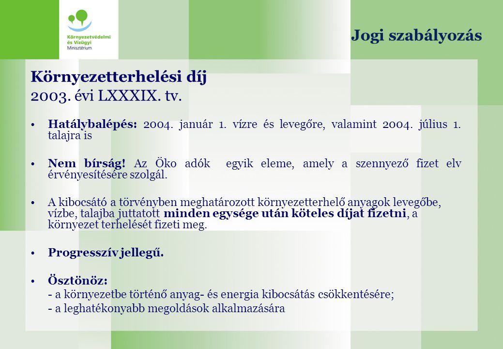 Környezetterhelési díj 2003. évi LXXXIX. tv.
