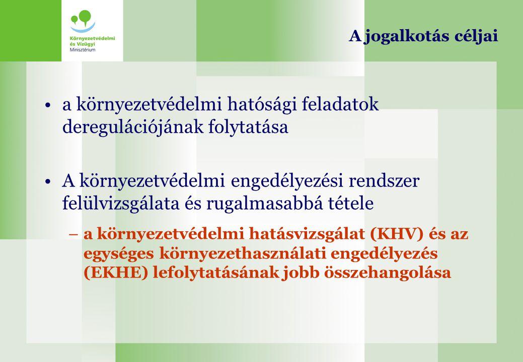 a környezetvédelmi hatósági feladatok deregulációjának folytatása