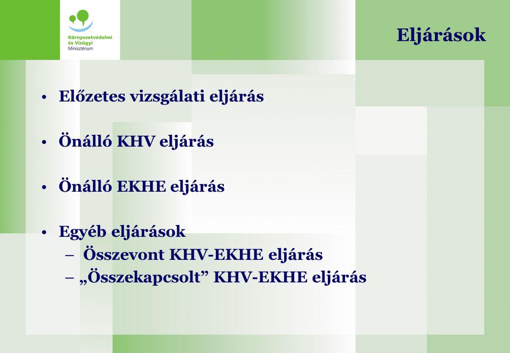 Eljárások Előzetes vizsgálati eljárás Önálló KHV eljárás