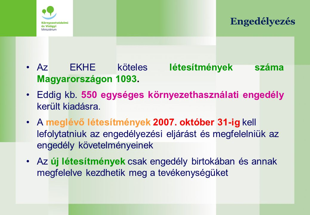 Engedélyezés Az EKHE köteles létesítmények száma Magyarországon 1093. Eddig kb. 550 egységes környezethasználati engedély került kiadásra.